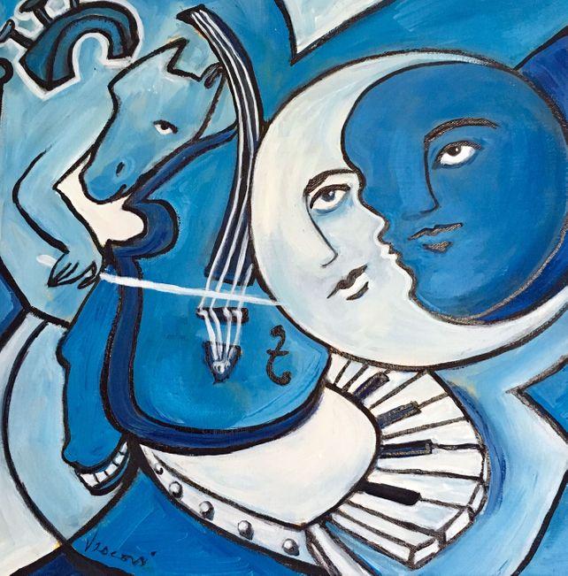 Homme dans la Lune Bleue