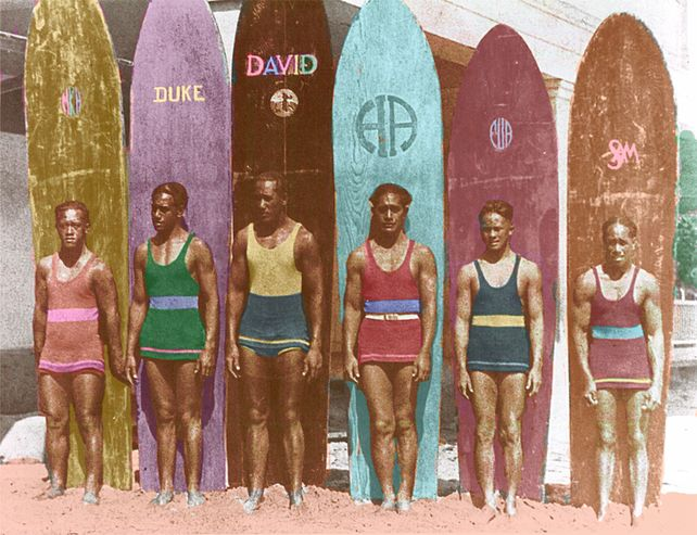 Surfing with Duke Old surfboard Art Photograph