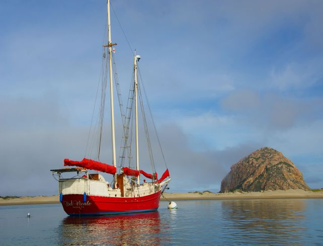 Red Sailing Boat Morro Bay 24 x 30