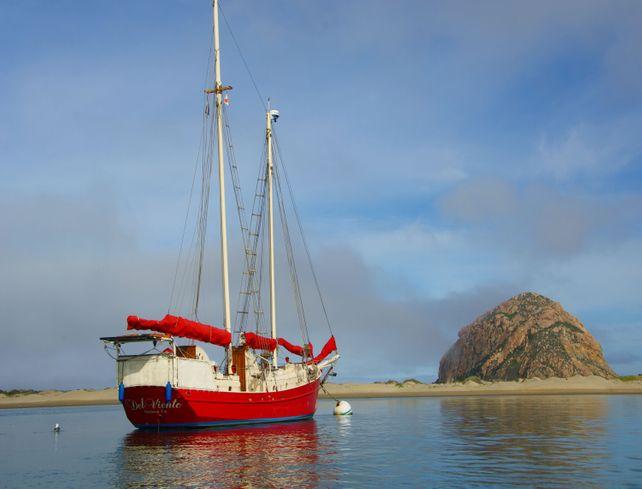 Red Sailing Boat Morro Bay 28x38