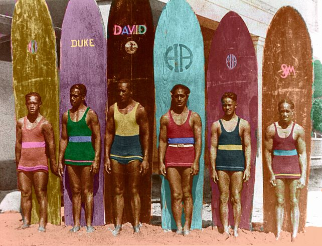 Surfing with Duke  Old surfboard Art Print