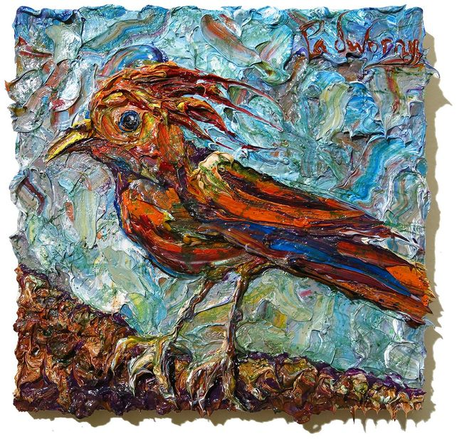 UNTITLED x1280 - Original oil painting bird fly