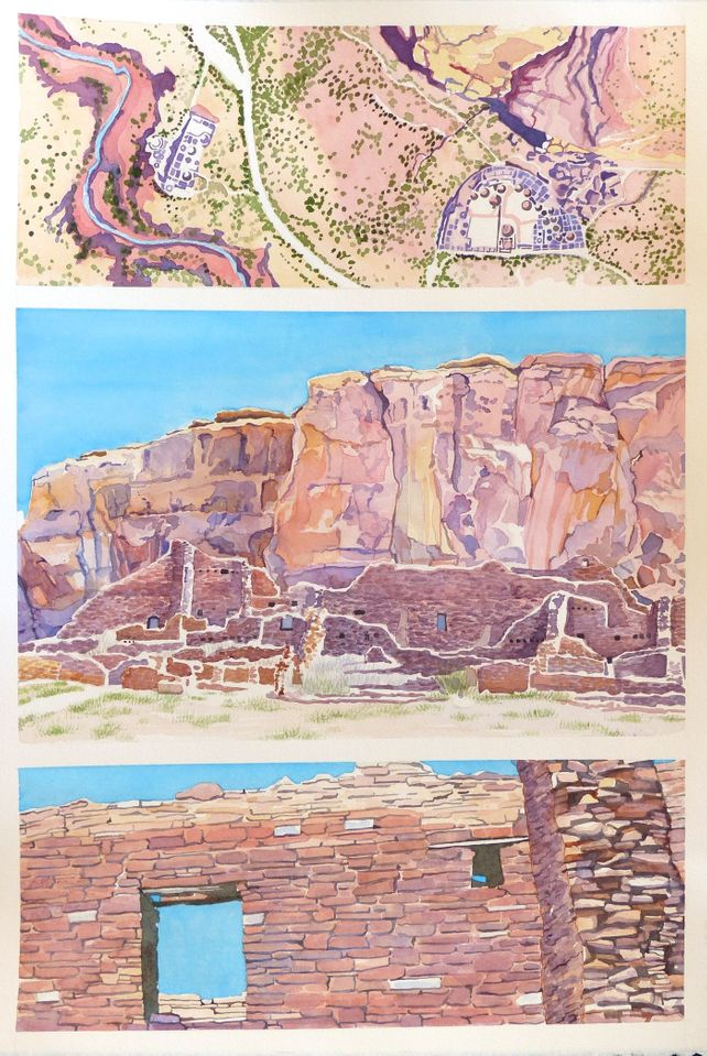 Chaco Canyon Tryptich