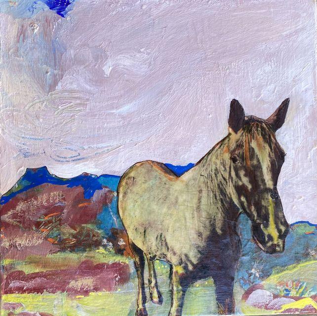 Horse at Pedernal, Pink Sky