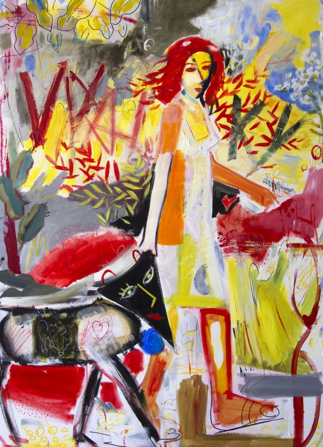 Girl - walk with the dog city modern painting