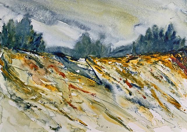 Textured Watercolor Landscape