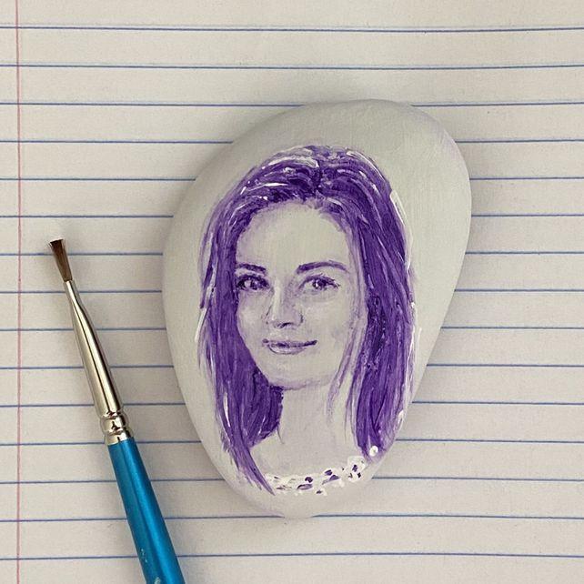 Miniature portrait on pebble