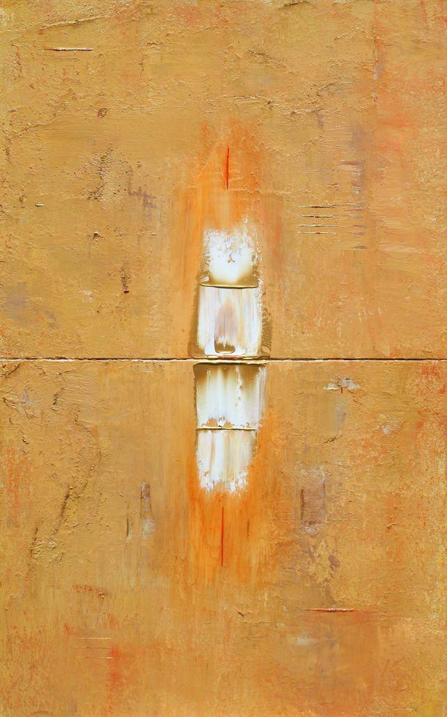 Primitive Two Panel Gold White Orange Marks