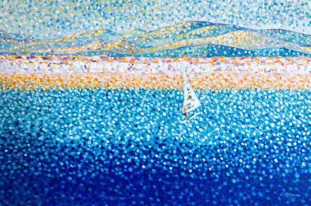 Altafulla, Spain - Seascape with Sailboarder