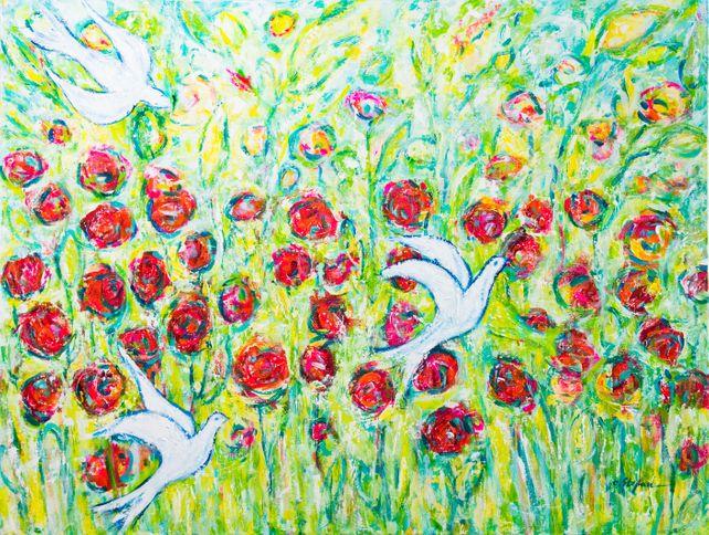 Flower garden and birds