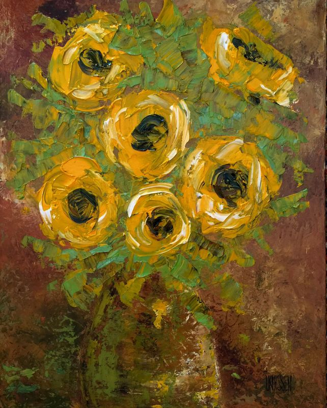 Sunflowers with Green Vase