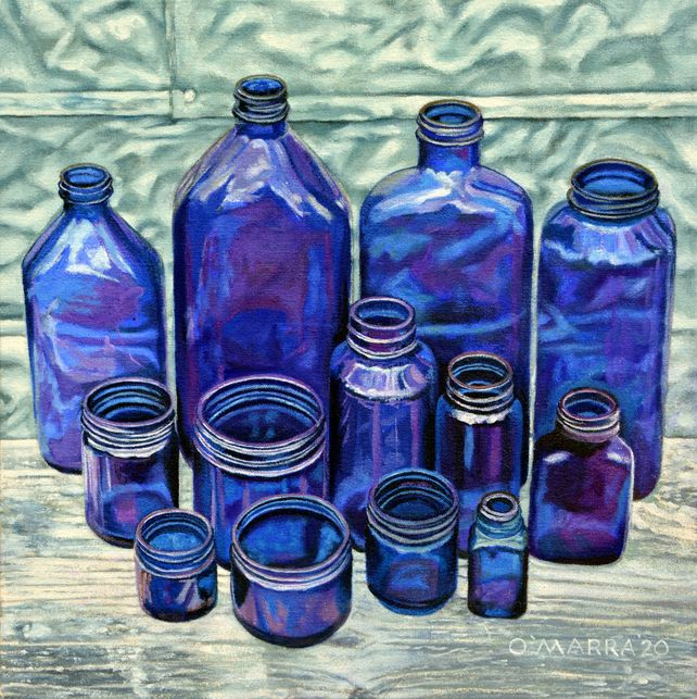 Blue Bottles Still Life