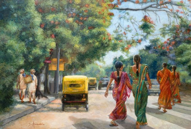 India Street Scene In Flowery Bangalore