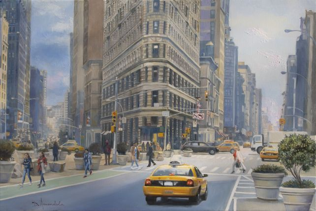 Manhattan City Scene With The Flatiron Building
