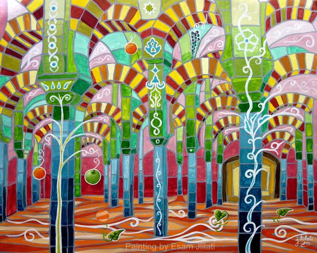 Andalusia Spain original acrylic abstract Alhambra