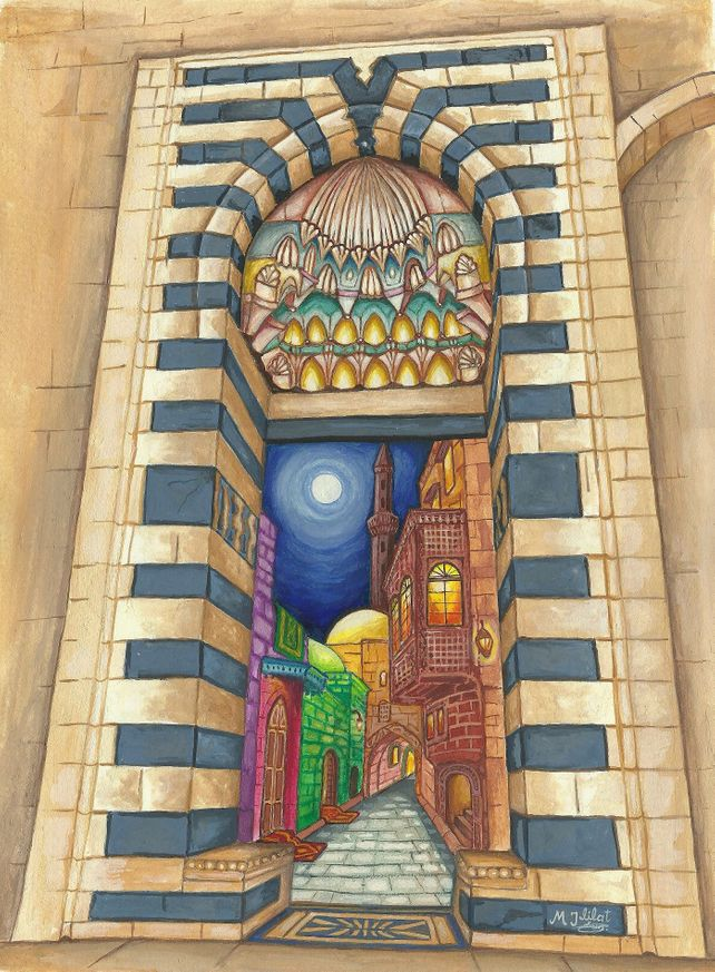 Original painting Islamic architecture Orient gate