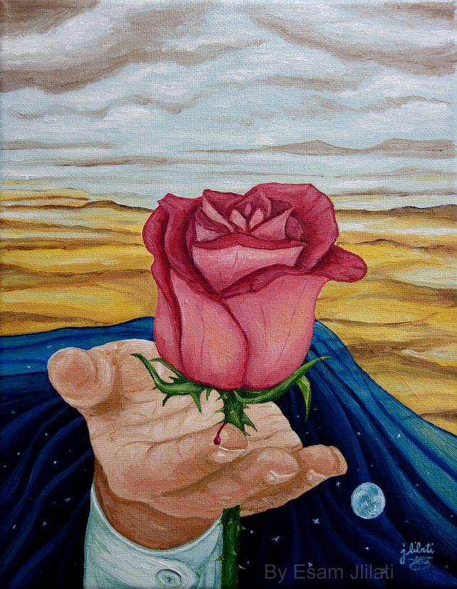 Beauty has thorns, original oil Roses surrealism