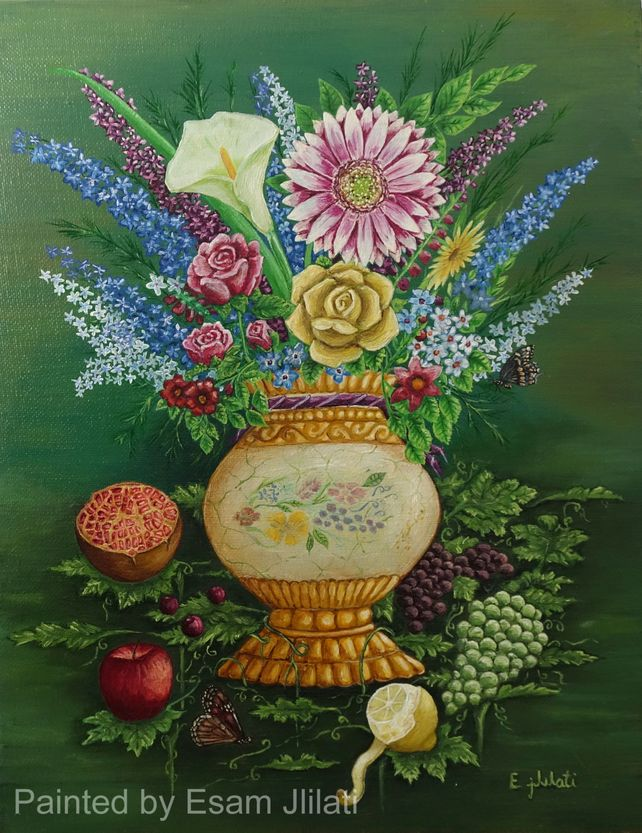Vase, fruit and butterfly