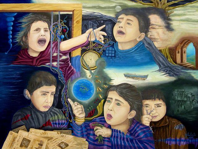 original oil painting freedom & Peace childhood