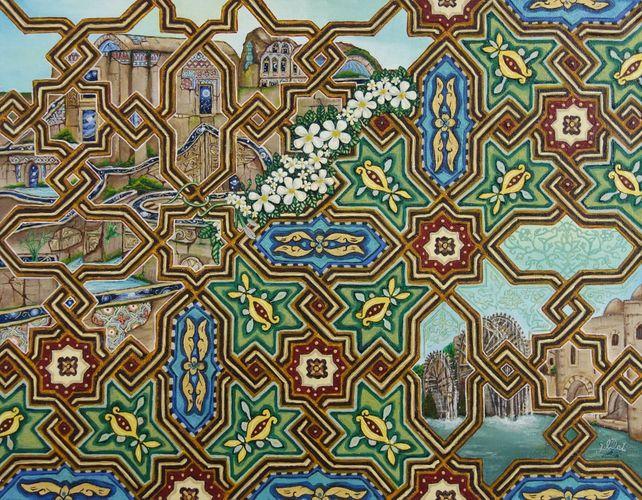 oil painting architecture arabesque Mosaic Art