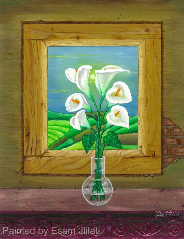 lily vase, wooden window