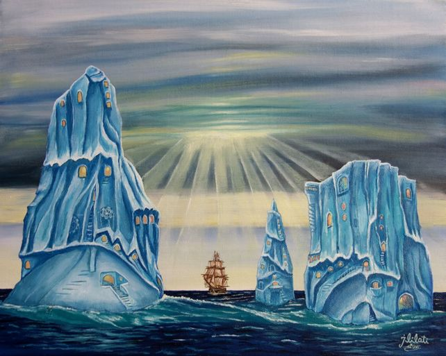 Iceberg seascape surrealism landscape oil painting