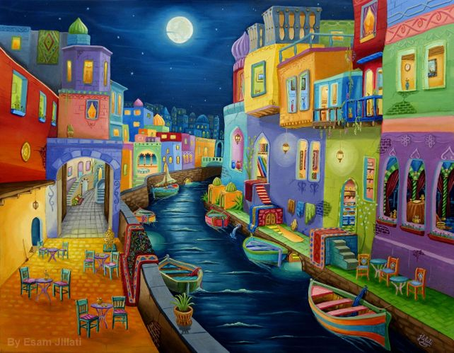 Original oil painting Thousand & one Night