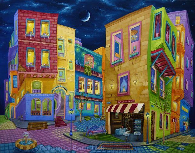 Original oil painting, Night Walk, Cityscape