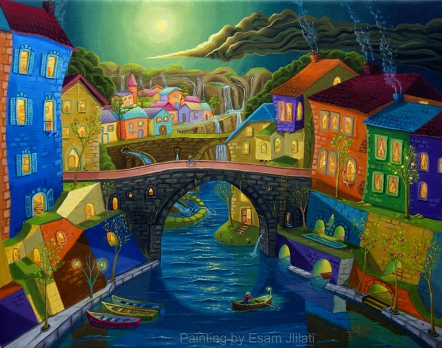 European village, acrylic painting canvas
