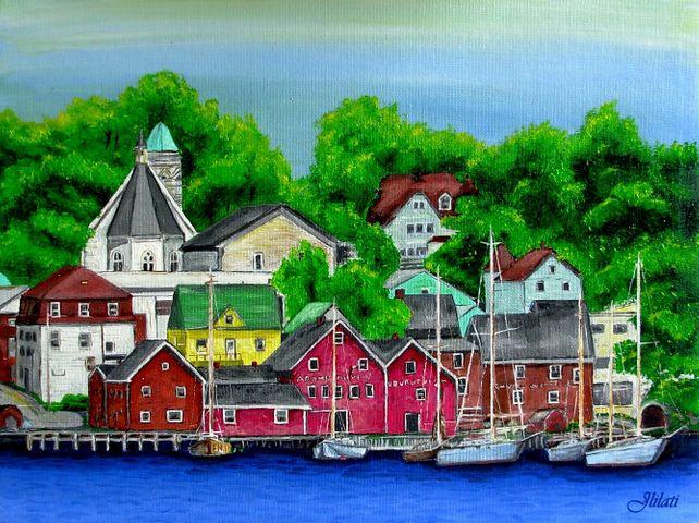 Original Canadian oil painting realism Lunenburg