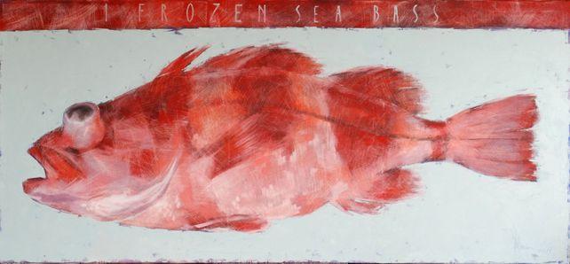 1 frozen sea bass.