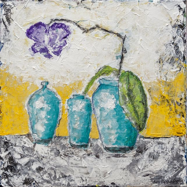 Turquoise Vases And Purple Orchid by Ben Gertsberg