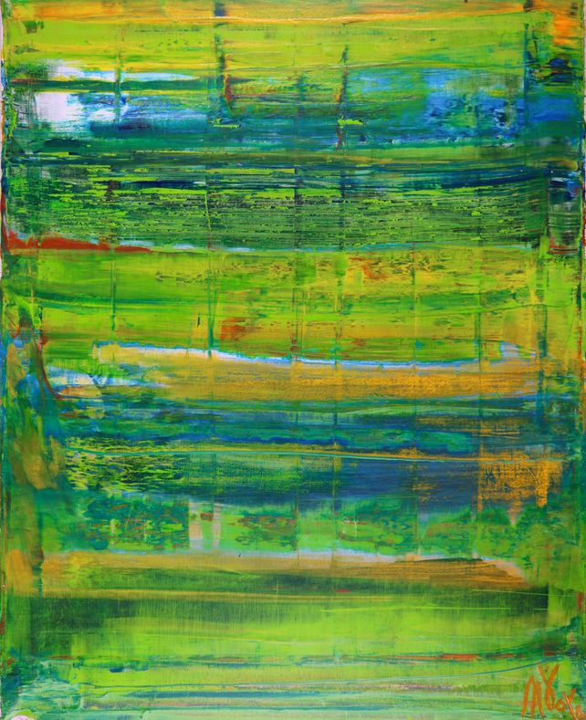 Abstract Painting - Dimensional Green #3
