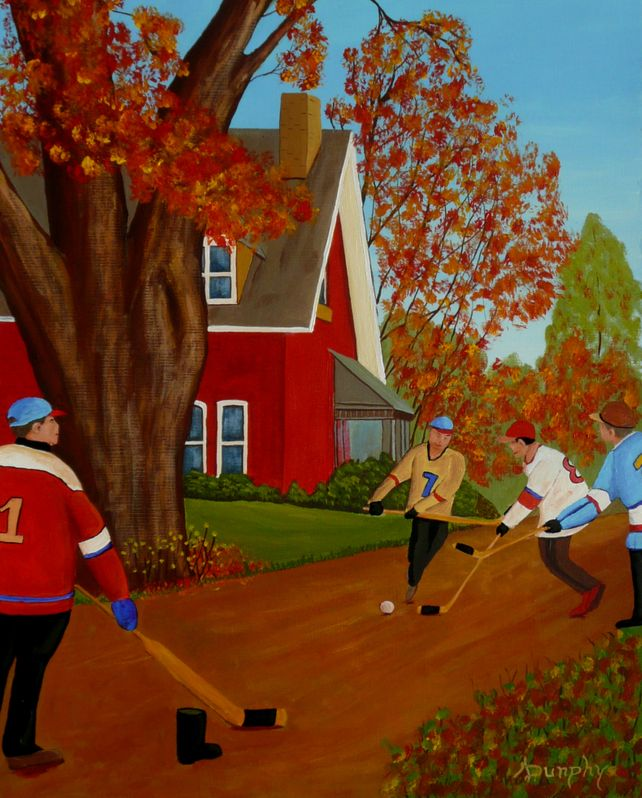 Street Hockey In Autumn