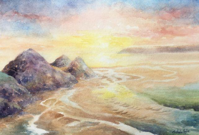 Three Cliffs Sunset. The Gower