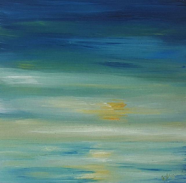 Hazy Morning Blues - Semi Abstract seascape