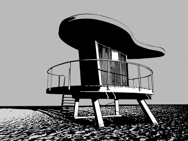 Miami Beach Lifeguard Stand #9. - In Black & White