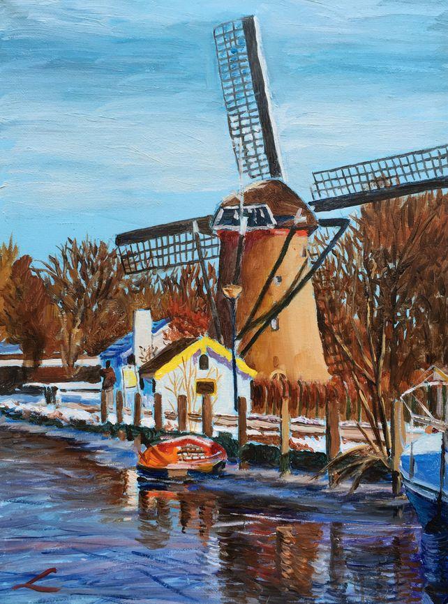 Winter windmill in Maasluis