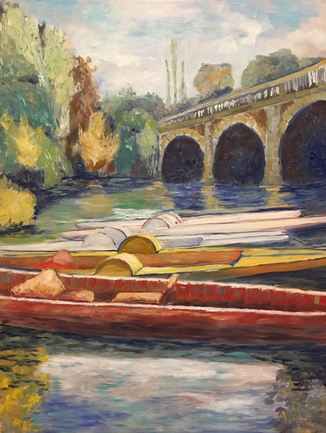 Impressionist Landscape of Boats in Oxford, Englan