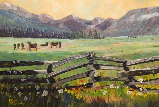 A Meadow with Cows and Wildflowers near Lassen Nat