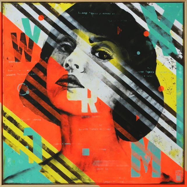 Striped Pop Art Girl - Incl. Frame