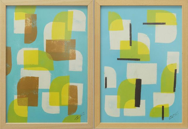 Yellow Blue Stacked- Diptych - Incl Frame