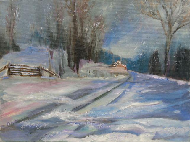 Seasonal Country Snowy Night (FRAMED)