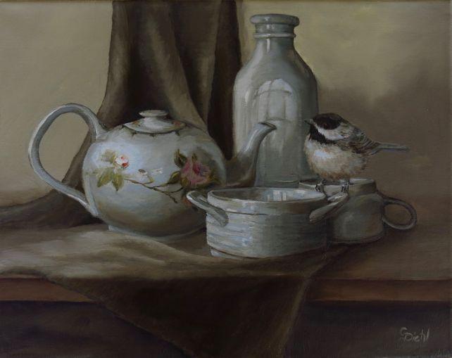 A Chickadee Birds Tea  (FRAMED)