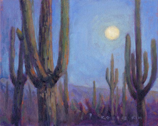 Moonlit Saguaros