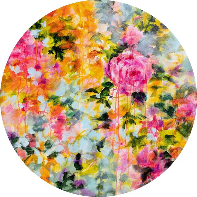 Psychedelic vintage flowers - floral tondo