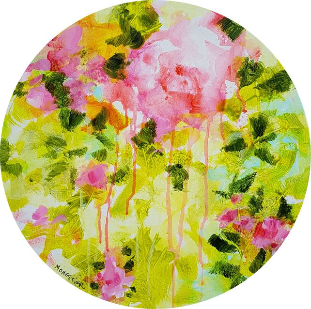 Floral poetry n°1 - acrylic on circular canvas