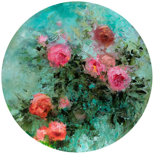 Pompadour tondo Pink roses oil impasto