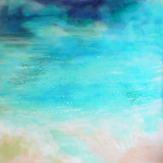 Ocean  (medium painting,seascape, blue,aqua)