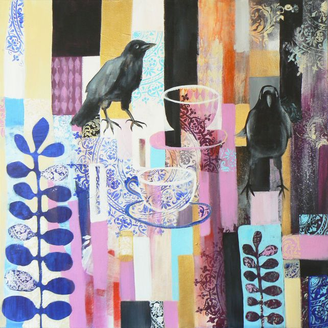 Two for tea (jackdaws, birds, crows, ravens, tea